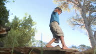 Boy walking along log, low angle