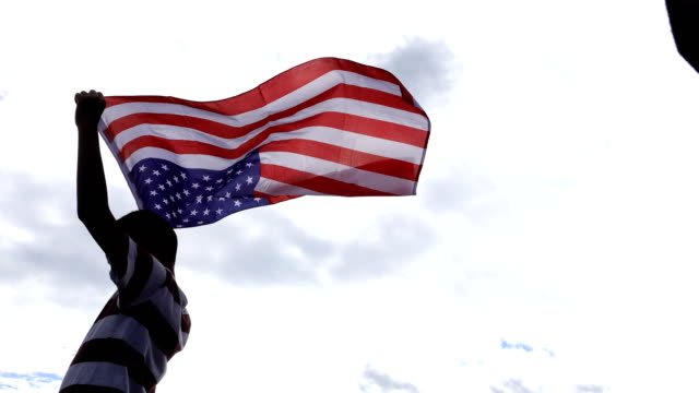 4K MS: Boy with American Flags