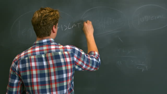 MS Boy writing the United States government branches on black chalkboard