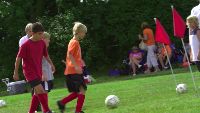 WS PAN Boys (8-13) practicing soccer with coach in field / Rockford, Illinois, USA