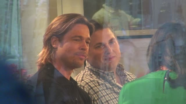 Brad Pitt and Jonah Hill at the 'TODAY' show studio in New York on 2/1/2012
