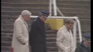30th anniversary ceremony LIB Bradford Valley Parade EXT Stafford Heginbotham leads officials and police down steps of terraces INT Heginbotham...