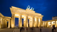 Brandenburg Gate Berlin Night Timelapse with Dynamic Clouds and Moving People