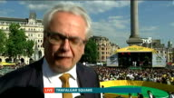 Opening ceremony / Day 1 ENGLAND London Trafalgar Square INT Reporter to camera Roberto Jaguaribe LIVE interview SOT Band playing Brazilian flag...