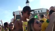 CU Brazil fans gather and watch the BrazilMexico match at the FIFA Fan Fest on June 17 2014 in Salvador Brazil