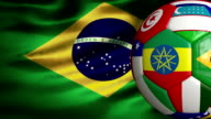 Brazil Flag and World Cup Soccer Ball