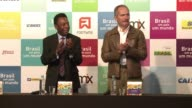 Brazilian football legend and World Cup ambassador Pele opens the Brasil um pais um mundo Brazil a country a world exhibition in Sao Paulo to promote...