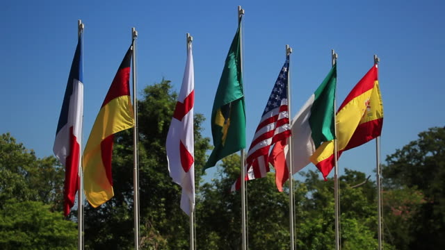 WS Brazilian, French, German, English, American, Italian and Spanish flags / Foz do Iguacu, Parana, Brazil