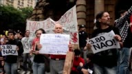 Brazilians take to the streets once again Thursday in Sao Paulo to protest against the transportation fare hike from 350 reais to 380 reais amid a...