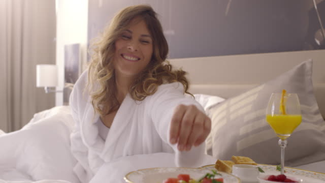 Breakfast in Bed. People Waking up.