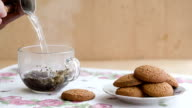 Breakfast with cup of tea and biscuits.