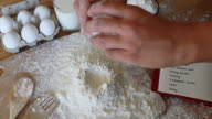 Breaking eggs on flour