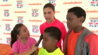Breanna Yde Amber Montana Benjamin Lil PNut Flores Jr and Curtis Harris talks about the importance of staying healthy and active at Nickelodeon's 10...