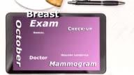 Breast Cancer Awareness Wortwolke auf digitale Tablet-Bildschirm.