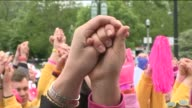 WGN Breast Cancer Walk Participants At Rally on June 02 2013 in Chicago Illinois