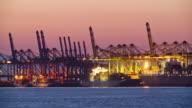 MS T/L Bremerhaven Container Terminal at dusk / Bremerhaven, Bremen, Germany