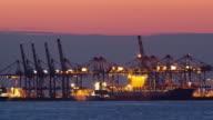 MS PAN T/L Bremerhaven Container Terminal at dusk / Bremerhaven, Bremen, Germany