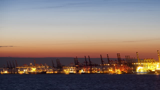 WS PAN T/L Bremerhaven Container Terminal at dusk / Bremerhaven, Bremen, Germany