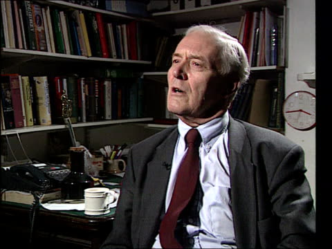 Brent spar reoccupied German protests North Sea oil INT London W11 Holland Pk Ave CMS Tony Benn MP intvwd SOT every penny of oil revenue has either...