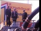 Brent spar reoccupied German protests North Sea oil NORTH SEA Argyll Platform MS Boat docks along side larger ship LMS Tony Benn MP with colleague...