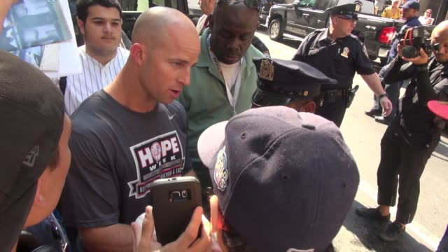 Brett Gardner leaving the 'TODAY' show signs for fans in Celebrity Sightings in New York