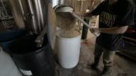 Brewery worker shovels grains into large bucket