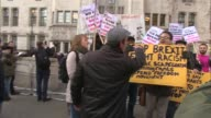Article 50 hearing Protests and interviews Close shots Supreme Court as protesters chant in background SOT / AntiBrexit demonstration / ProBrexit...