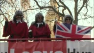 Article 50 hearing Protests and interviews ENGLAND London EXT AntiBrexit demonstrators on open top bus some dressed as Judges ProBrexit placards held...
