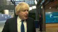 Boris Johnson interview BELGIUM Brussels EXT Boris Johnson MP from car outside EU building and doorstep interview on EU meeting on migration crisis...