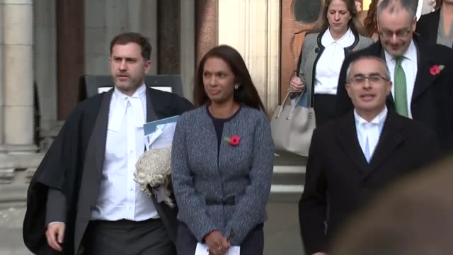 Liz Truss reaction to press attacks on judges T03111610 / Royal Courts of Justice EXT Gina Miller applauded by supporters as from High Court and...