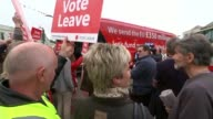Government plays down reports of 38 billion pound Brexit bill offer LIB / 1152016 Cornwall Truro Lemon Quay EXT Boris Johnson MP and Gisela Stuart MP...