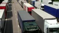 Government sets out plans for future customs system with EU R29071522 / Kent M20 EXT General views of lorries queuing and parked up on M20 during...