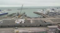 Government sets out plans for future customs system with EU R290317025 / ENGLAND Kent Dover High angle view of the port of Dover Lorries along to...