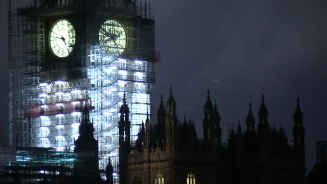 Government 'willing to double Brexit divorce bill offer to 40 billion pounds' ENGLAND London Westminster Illuminated scaffold covered Big Ben clock...