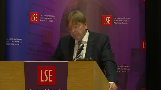 Guy Verhofstadt speech Guy Verhofstadt speech SOT re Brexit / many European Unions ie Schengen Euro etc / defence policy