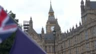 MPs to vote on EU Withdrawal Bill ENGLAND London Westminster Flags and chanting outside Houses of Parliament SOT Protesters wearing EU masks and...