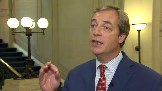 Nigel Farage intevrview ENGLAND London Westminster INT Nigel Farage MEP interview SOT