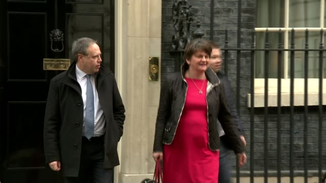 Northern Irish politicians visit Downing Street amid uncertainty over border and divorce bill ENGLAND London Downing Street EXT Nigel Dodds MP and...