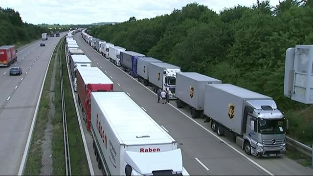 Prospects of no deal / effects on the Port of Dover 2015 Kent Various of lorries queueing on the M20 motorway during Operation Stack where lorries...