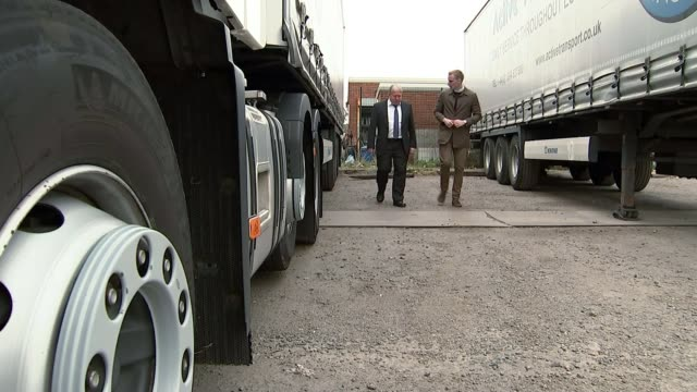 Prospects of no deal / effects on the Port of Dover INT LORRY Gary Nye sitting in lorry cab as driving lorry along Low angle view from side of lorry...