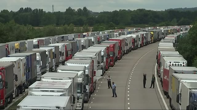 Split between Prime Minister and Chancellor over provision for no deal R29071522 / 2972015 ENGLAND Kent DAY Various of lorries parked on the M20...