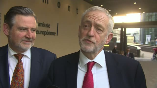 Theresa May attends EU summit EXT Jeremy Corbyn MP interview SOT We were not discussing in the sense of negotiating we were familiarising ourselves...