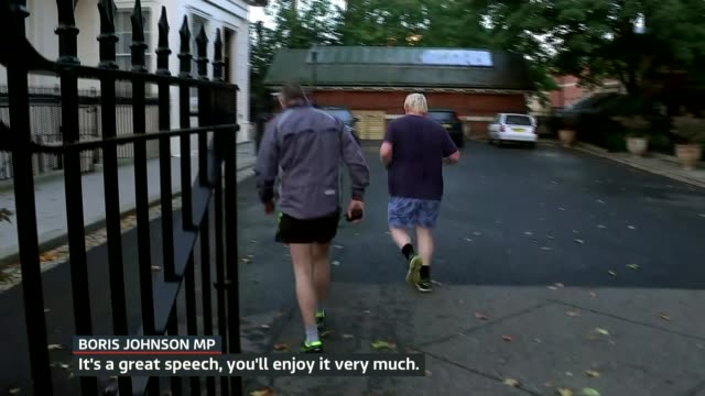 Theresa May delivers speech in Florence ENGLAND London SCREEN** Boris Johnson MP doorstep interview as along jogging SOT it's a great speech INT...