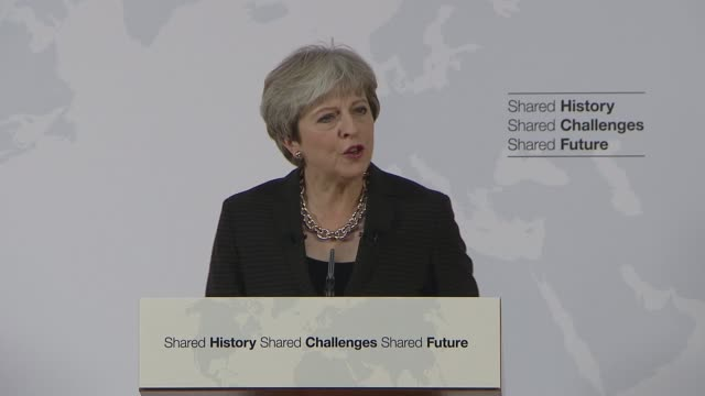 Theresa May Florence speech ITALY Florence INT Theresa May MP speech SOT It's good to be here in this great city of Florence today at a critical time...