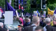 Tony Blair calls for tough new curbs on immigration London Protesters along with EU and Union Jack flags AntiBrexit demonstrators along Back view...