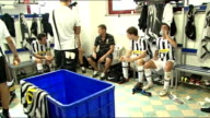 INT Brian Honour interview SOT Players in changing room Close up West Auckland FC shirt