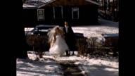 1957 Bride and Groom Arriving Home After Wedding
