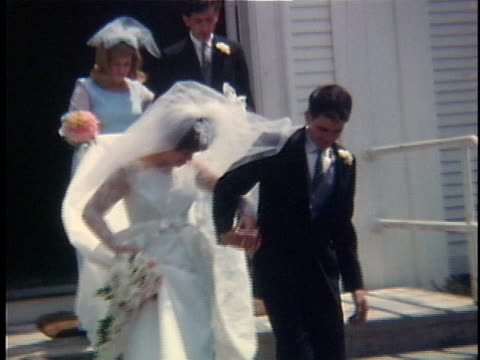 1966 MS Bride and groom exit church, Bristol, Vermont, USA