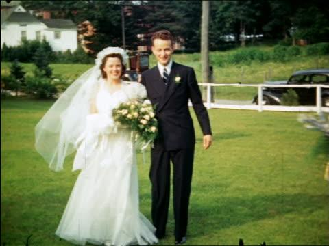 1940 PORTRAIT bride + groom posing for camera outdoors / Maplewood, NJ / home movie