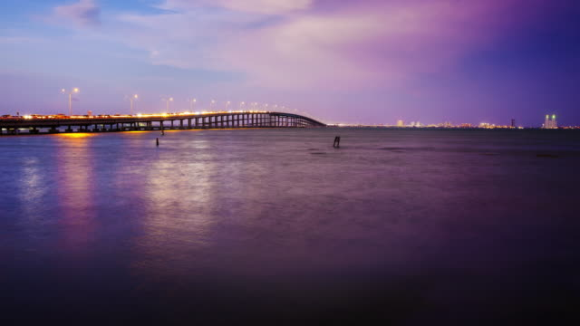 Bridge Leads to South Padre Island, Texas at Sunset - Time Lapse